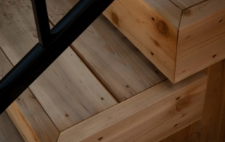 closeup of wooden stairs